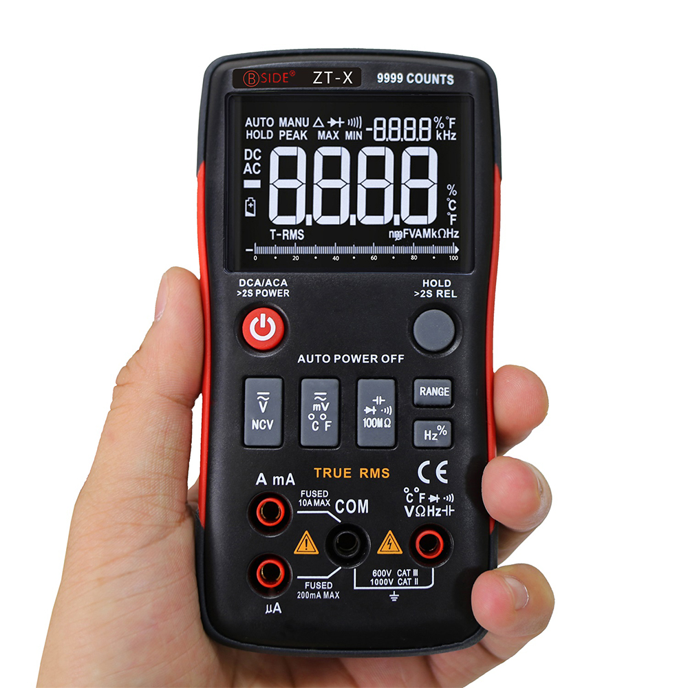 BSIDE Digital Multimeter True RMS Touch tone Handheld Multi Meter AC DC Voltmeter 9999 Counts