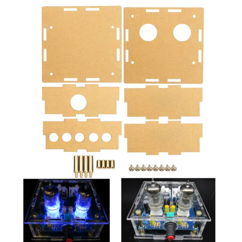 LEORY Case For 6J1 Tube Preamplifier Amplifier Module Transparent Acrylic Housing Shell