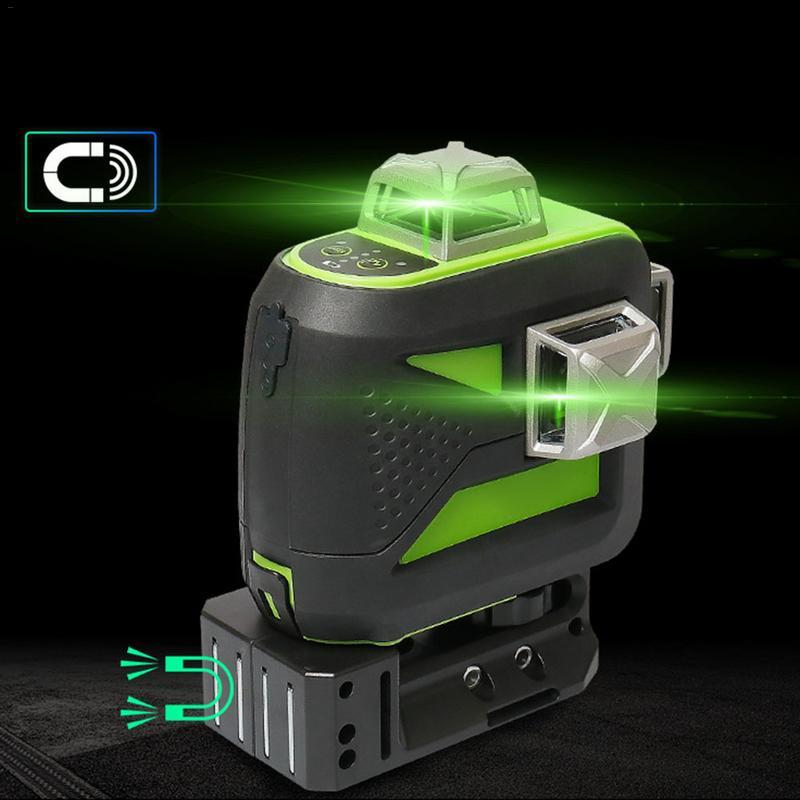 12 lignes 3D Croix niveau laser de ligne Auto-Nivellement 360 Vertical et Horizontal Vert Faisceau USB Charger Utilisation Sec et batterie li-ion