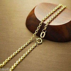Image 4 - Au750  Real 18K Yellow Gold Necklace 2mm Cable Link Chain  60cm L 24inch