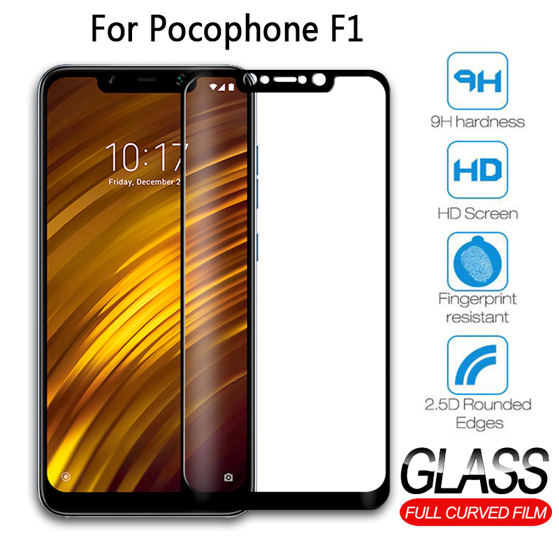 Case For Pocophone F1 Glass Screen Protection For Xiaomi Pocophone Poco F 1 F1 Xiomi Full Cover Protective Tempered Glass Film