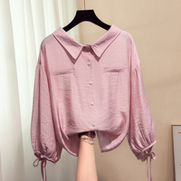 2019 Blouse Office Lady Three Quarter Button Solid Peter Pan Collar Regular Spring And Autumn Korean Style Female Tops