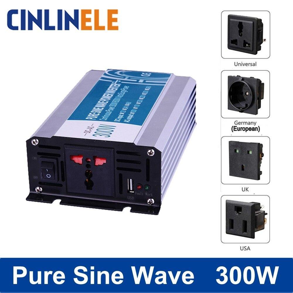 Smart Pure Sine Wave Inverter 300W CLP300A DC 12V 24V 48V to AC 110V 220V Smart Series Solar Power 300W Surge Power 600W