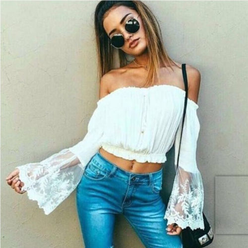 Summer Crop Tank Tops NEW Sexy Women Ladies Lace Hollow Out Sleeve Loose Blouse Summer Casual Beach Solid Tanks Top in Tank Tops from Women 39 s Clothing
