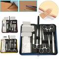 11/13/19 piezas estudiante de medicina el desbridamiento quirúrgico práctica Kit de sutura modelo de piel aguja de sutura tijeras pinzas por supuesto conjunto de herramientas