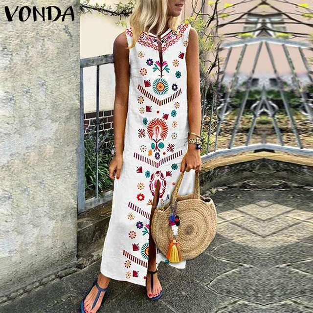 d45810158c Boho Women Vintage Print Maxi Long 2019 VONDA Summer Thin Sleeveless Party  Dresses