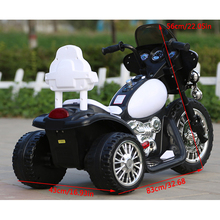 Child Motorbike Toy New American Plug Style Kids Electric Motorcycle 3 Anti Slip Wheels for Harley Style 1-6 Years Black & White