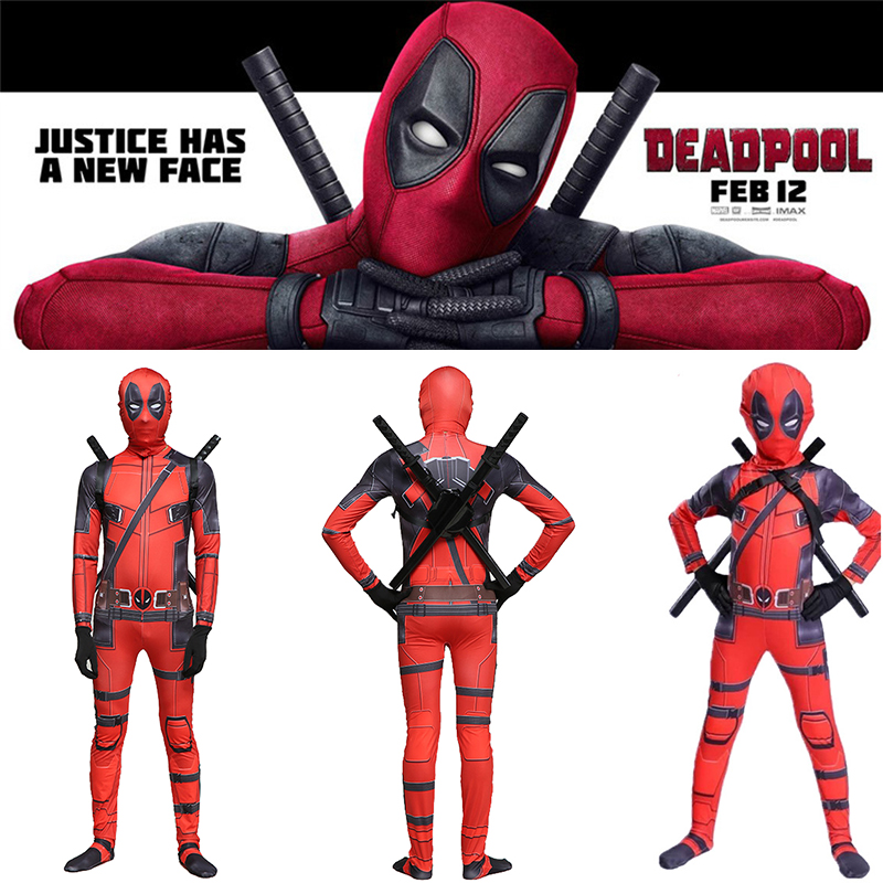 high quality superhero deadpool costume adult halloween costumes for kids child boys spandex zentai suit Carnival avengers men