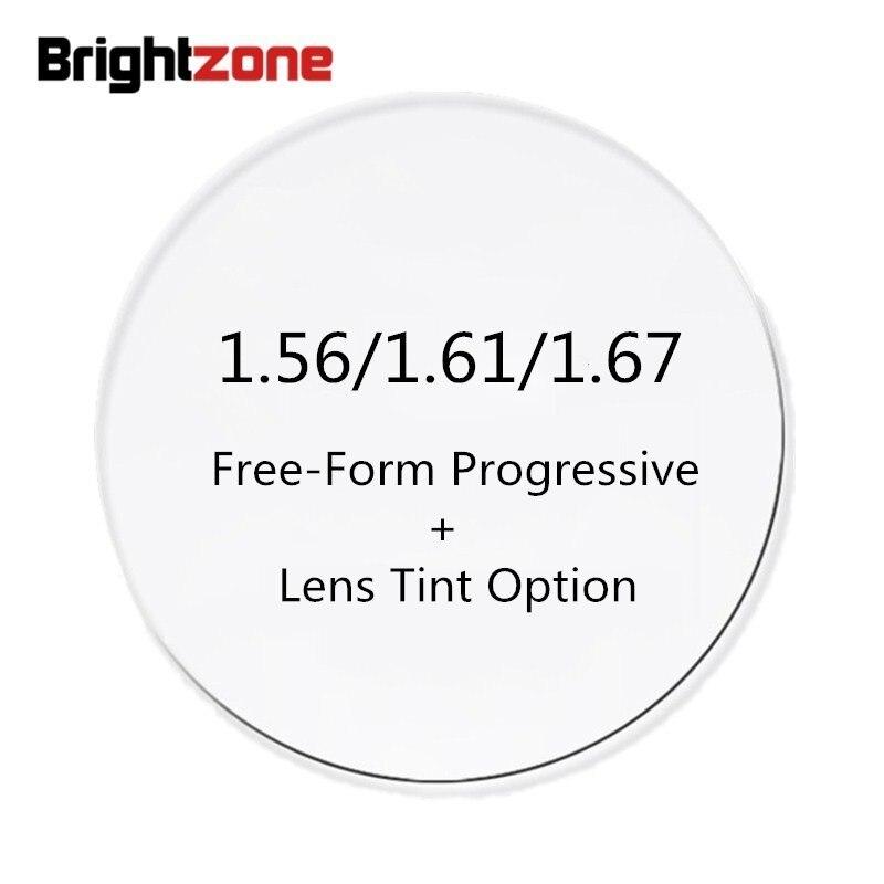 1.56/1.61/1.67 intérieur verres progressifs sans forme libre + verres teintés couleur Cr-39 lunettes Prescription Rx verres