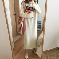 2018 New Warm Vestidos Sweater Women Autumn Winter Long Sweater Knitted Dresses loose Maxi Over size Lady Bodycon Robe Dresses