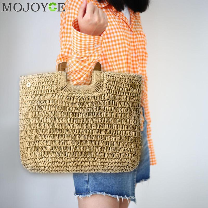 Women Bohemian Straw Bag Large Capacity Beach Handbag Summer Vintage Rattan Bag