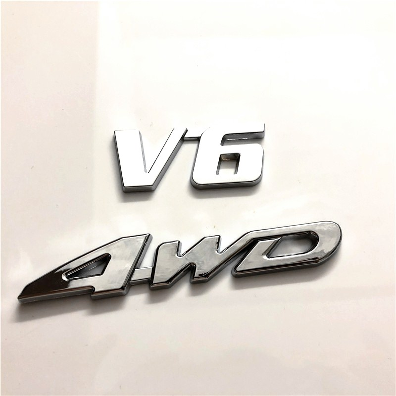 50X Car Styling 3D Metal Sticker 4WD V6 V8 3D Chrome Car Vehicle Tailgate Sticker Trunk