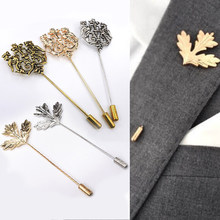 Fashion Vintage Alloy Animal Leaf One Word Long Brooch Pins Gold Silver Men's Double Lion Wedding Party Suit Accessories Jewelry(China)