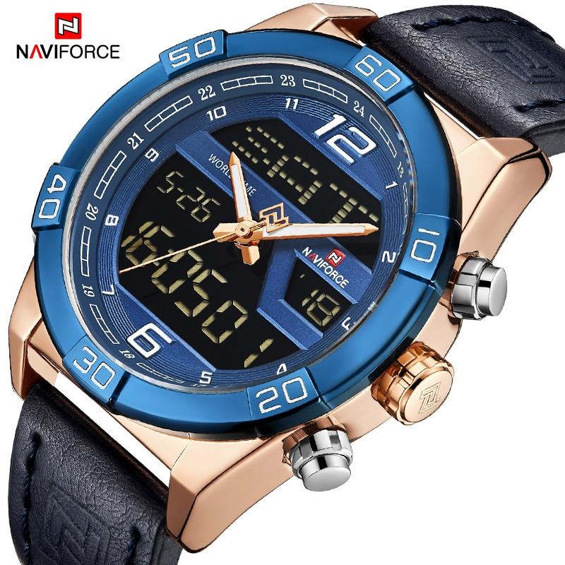 Men LED Digital Military Sports Watches Men's Waterproof Leather Quartz Wrist Watch Male
