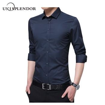 f28f8bfc8 2019 camisas de manga larga para hombre, camisas formales y sólidas para  hombre, camisas de talla grande para hombre, camisas de negocios de marca  ...