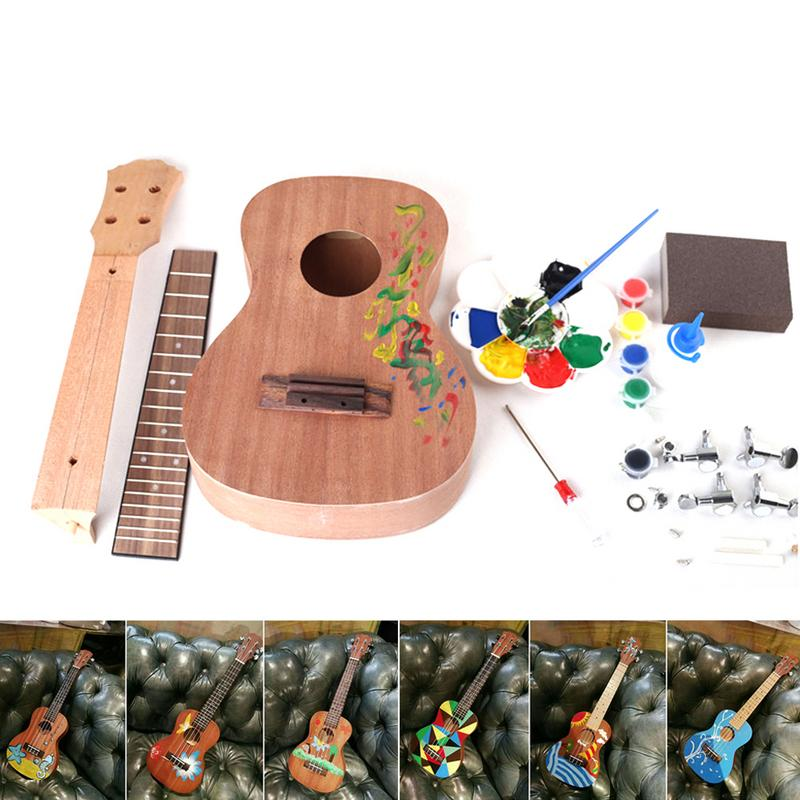 Bricolage fait maison ukulélé assemblage 23 pouces ukulélé petite guitare manuel assemblage cadeau pour ukulélé Leaner Instrument d'accompagnement