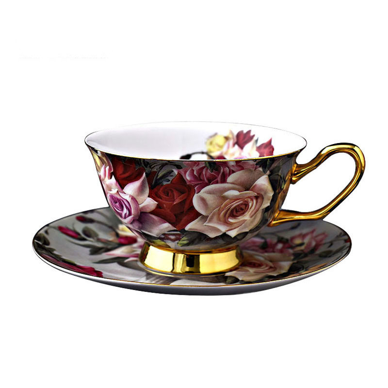 Creative Rose Flower Bone China Porcelain Coffee Cup And Saucer Gold Rimmed Floral Ceramic Teacup Afternoon Tea Cups Sets