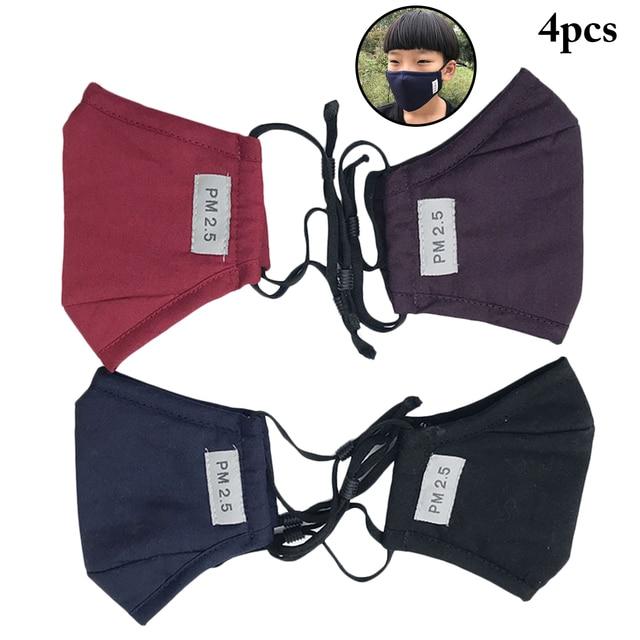 4PCS Kids Children Mouth Masks Activated Carbon PM2.5 Warm Mouth Covers Anti Dust Masks Women Men Cotton Face Cover Mask