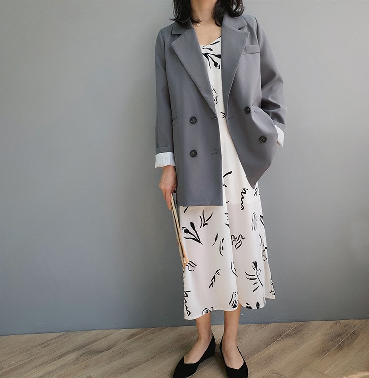 Spring Chic Loose Blazer Women Coat Double Breasted Long Suit Jacket Female Office Casual Blazer in Blazers from Women 39 s Clothing