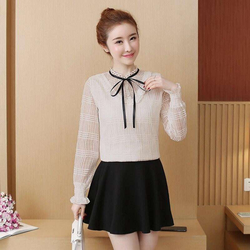 18afd52323d 2019 новая весенняя женская рубашка с длинным рукавом Тонкая кружевная  Полуоткрытая блузка в западном стиле белая