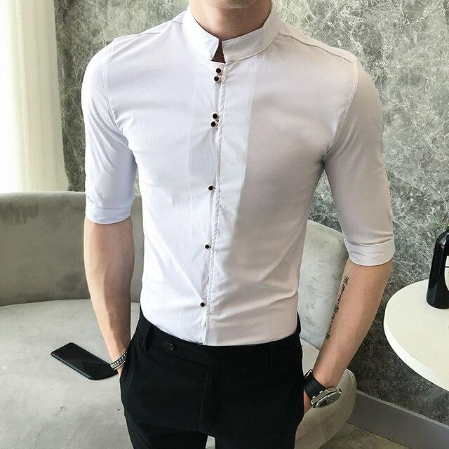 2018 summer trend collar printing shirt male Korean Slim Sleeveless shirt shirt hair stylist fashion men's casual shirt