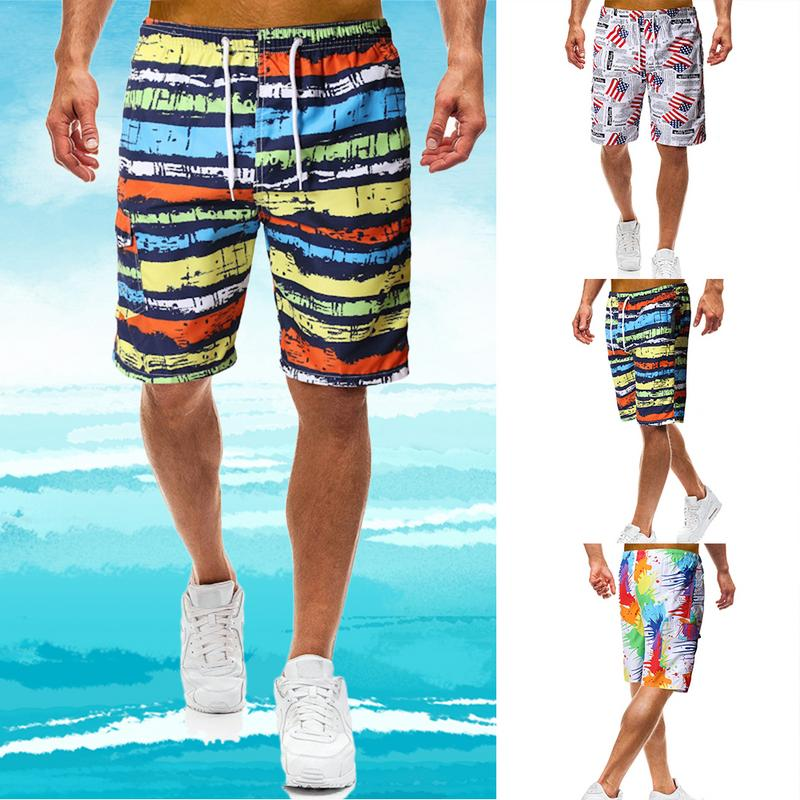Summer Men's Beach   Shorts   Trunk Quick Drying Camouflage Print Fashion Swimsuit Running Sports Surfing Pant Swimwear   Board     Shorts