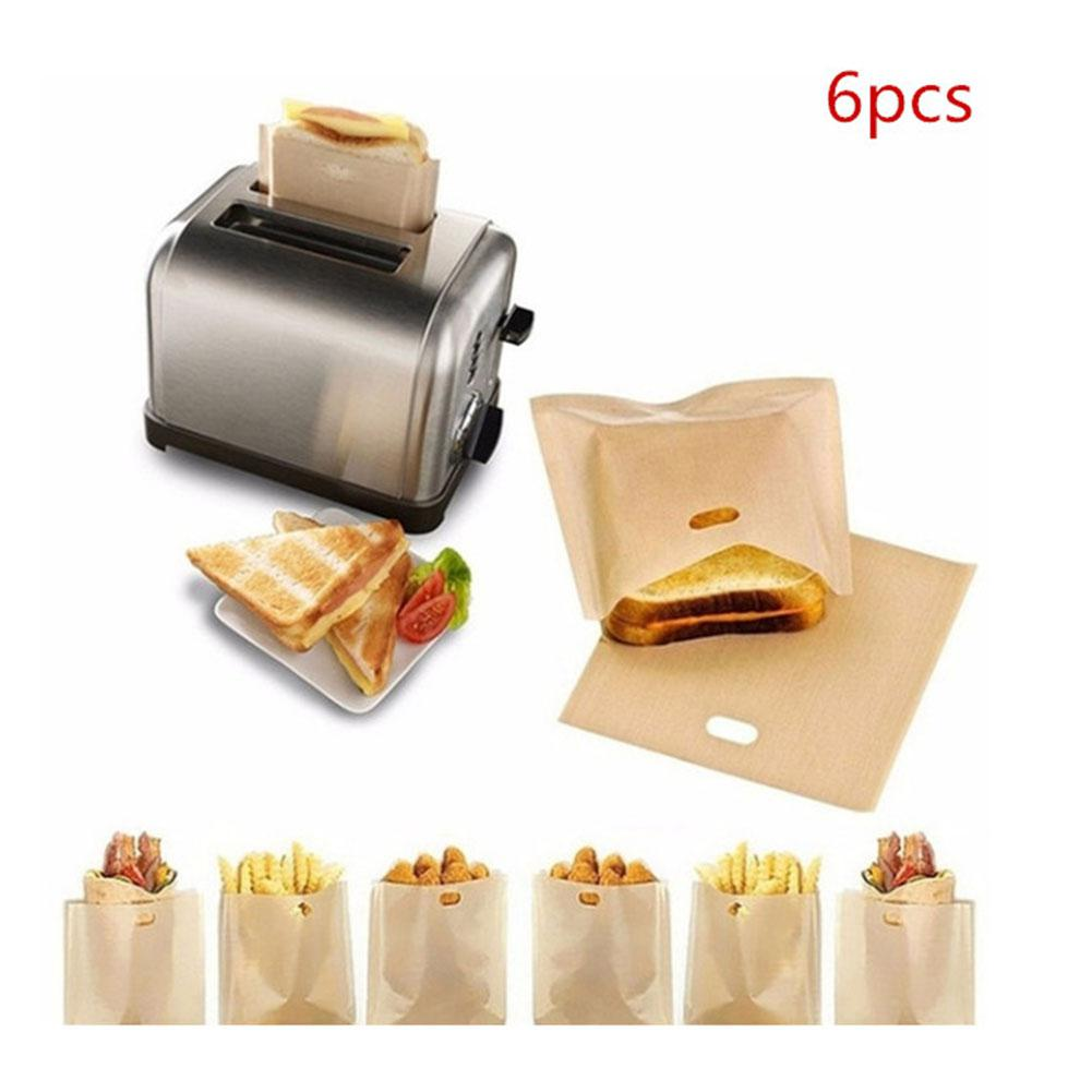 6pcs Non-Stick Reusable Food Bags Heat Resistant Teflon Coated Bread Doughnut Bags for Grilled Cheese Sandwiches Chicken Toaster image
