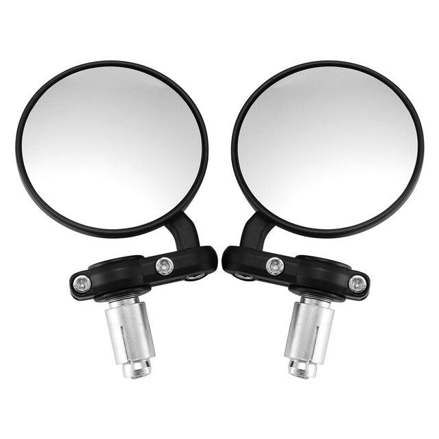 2 Pcs 22 milímetros Motocicleta Espelho de Alumínio Preto Punho Bar End Retrovisor Side Espelhos Motor Acessórios Do Carro-Styling