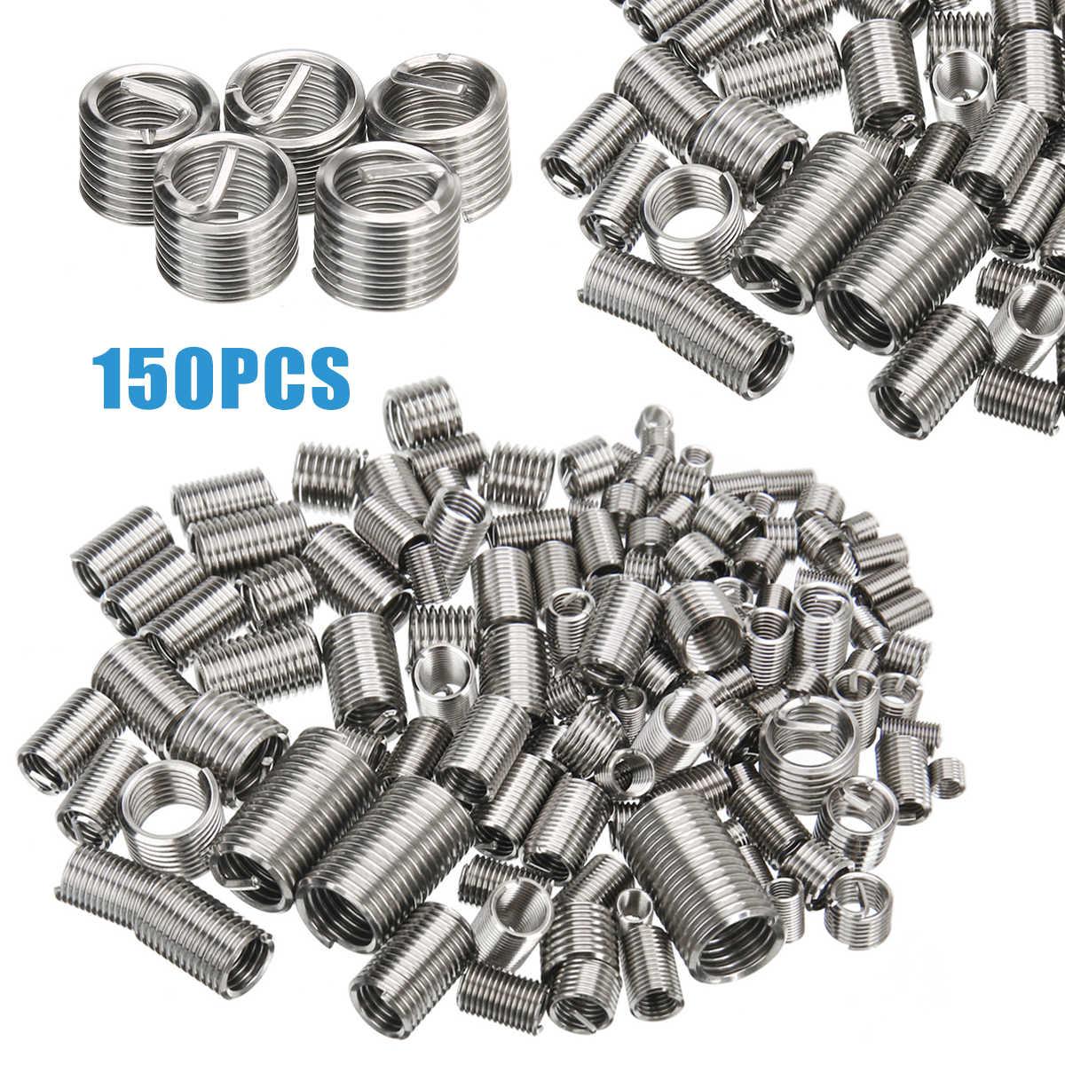 50pcs Filo di acciaio inossidabile Assortimento di inserti metrici Helicoil Tipo di inserto di riparazione filettatura Kit M8 x 1.25 x 1.5D Lunghezza