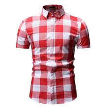 Mens Short Sleeve Checkered Button-Down Blouse White Plaid Red Shirt Fashions Chemise Homme Dress Shirts Men Clothes YS55