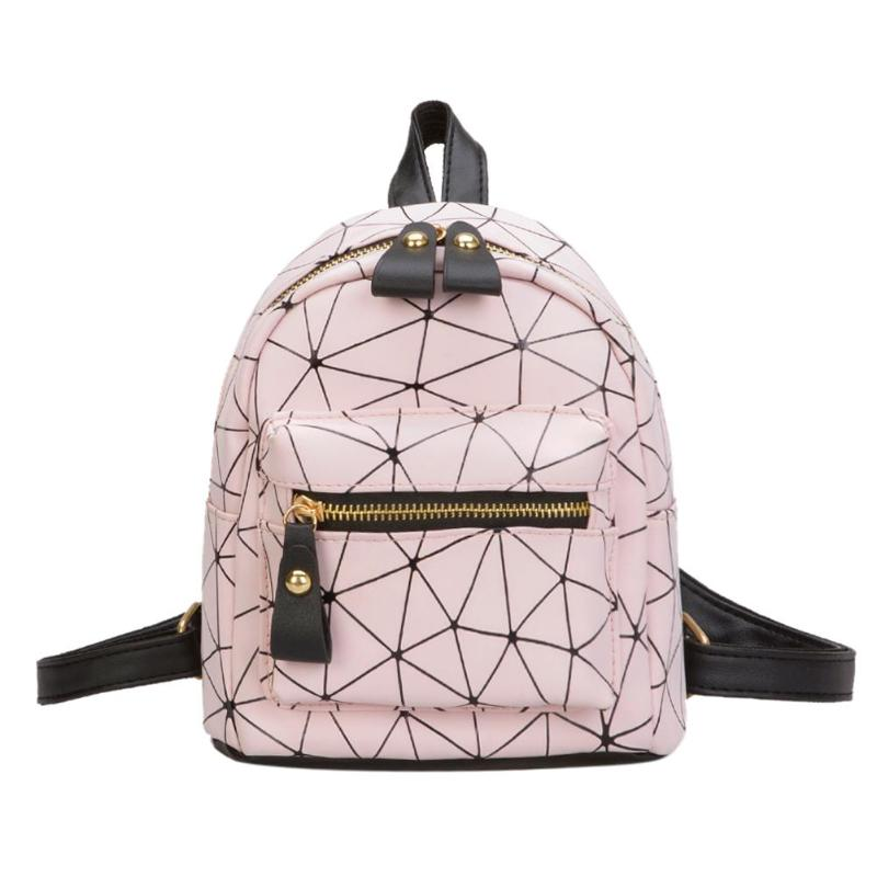 Mini Backpack Travel-Bag School-Bags Geometry Diamond-Lattice Daily Female Fashion Women