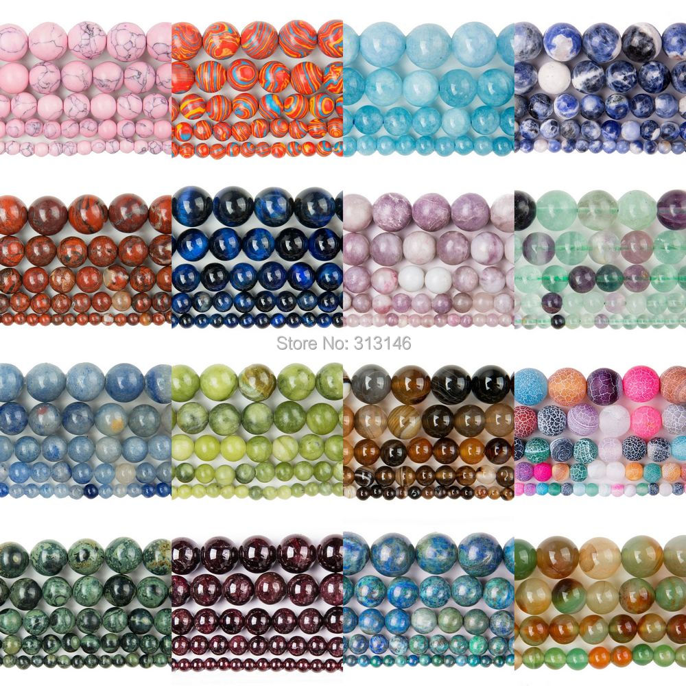 Bulk Wholesale Assorted Natural Round Full Strand Healing Gem Semi Precious Stone Beads