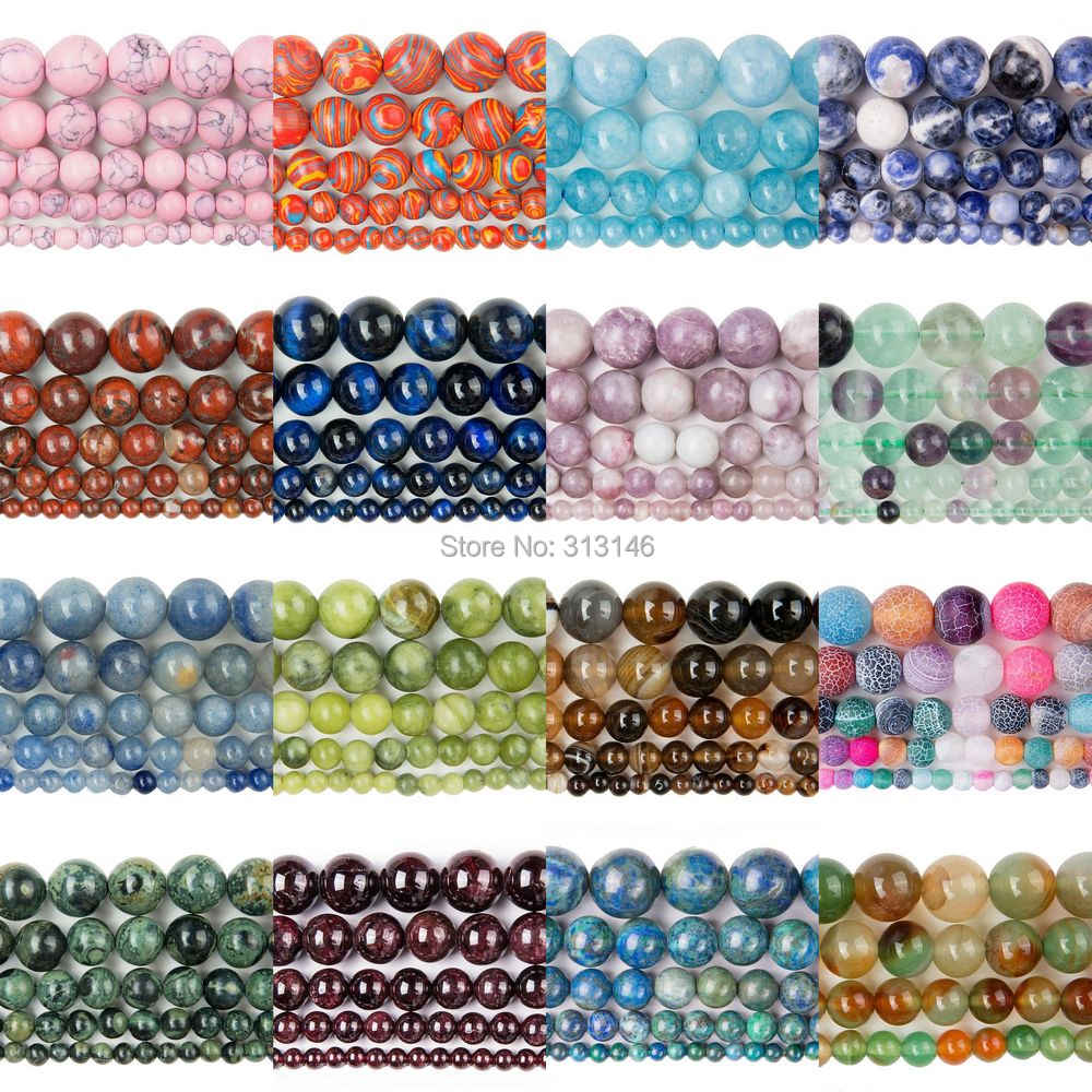 Bulk Wholesale Assorted Natural Round Full Strand Healing Gem Semi Precious Stone Beads for DIY Bracelet Necklace Jewelry Making