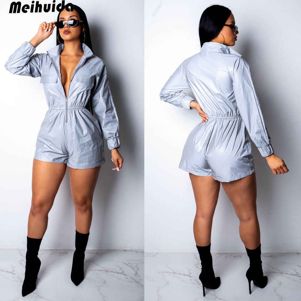 eed371cf8378 ... 2019 Women Reflective Outfits Crop Tops Pants Sets Two Piece Jumpsuit  Playsuit Casual Women Club Loose ...