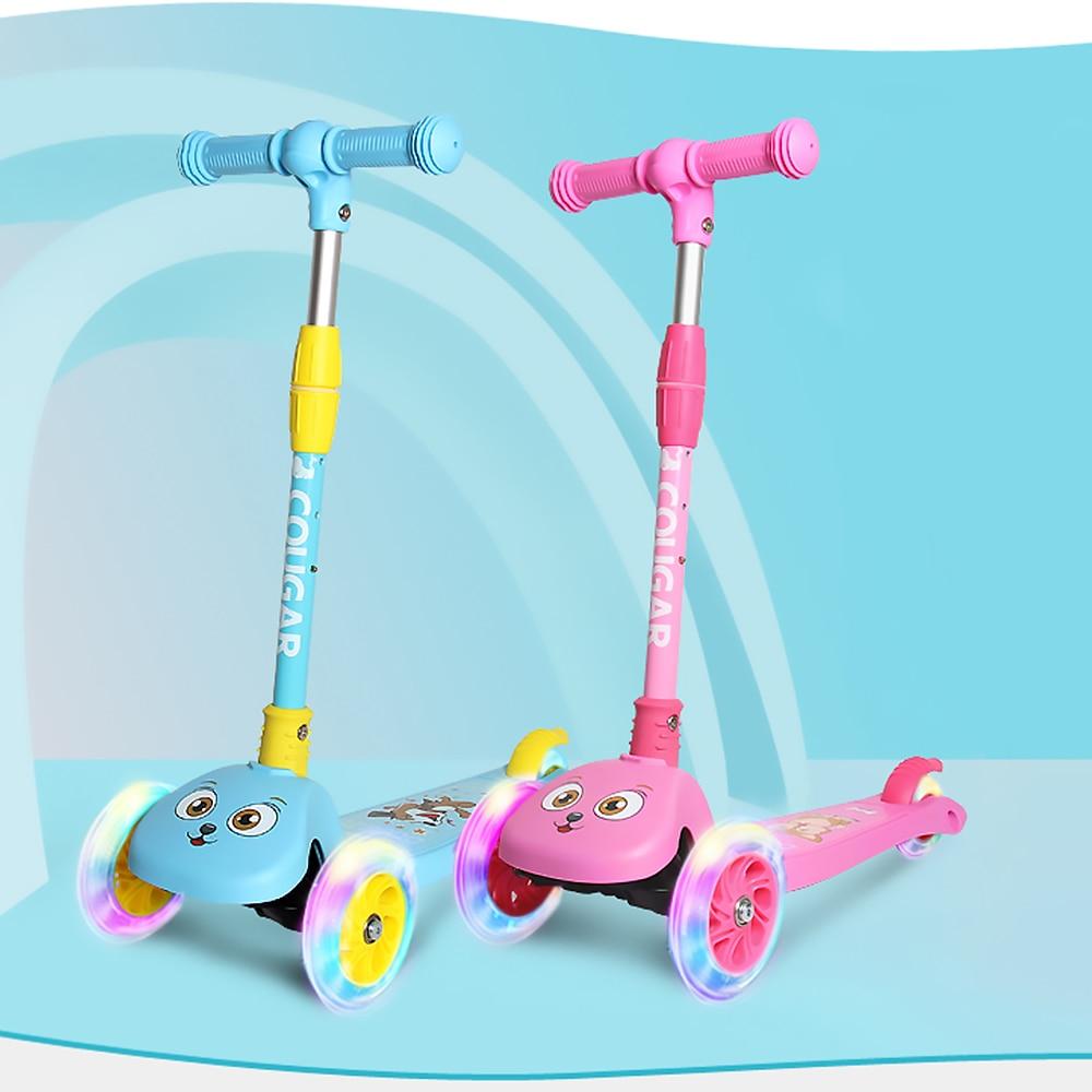 Trottinette enfants 3 roues trottinette pliante avec roues lumineuses hauteur réglable pour enfants filles garçons bébé planche à roulettes