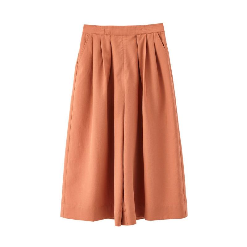 Image 5 - INMAN Summer Solid Elastic Waist Fold Slim Comfortable Minimalism All Matched Literary Women Loose PantsPants & Capris   -