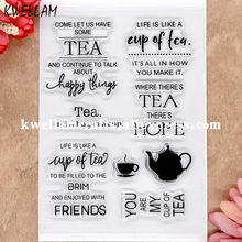 Sello de goma transparente para tarjetas de fotos de manualidades de TEA FRIENDS happy thins HOPE Scrapbook 11x16cm 8072607(China)