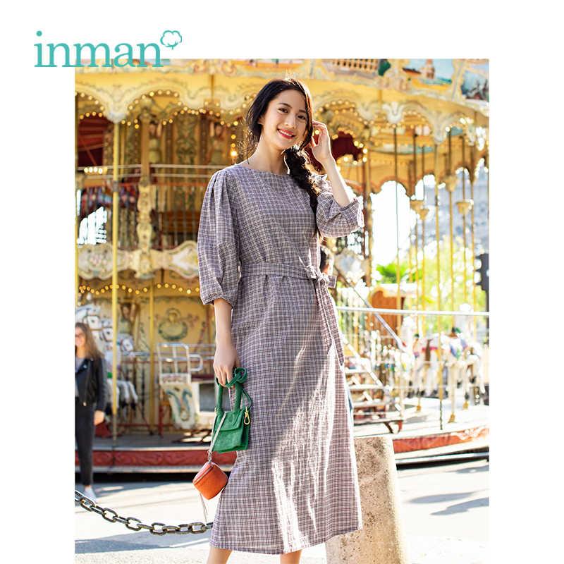 INMAN 2019 весеннее новое поступление с круглым вырезом в ретро стиле в клетку с поясом тонкое женское платье трапециевидной формы