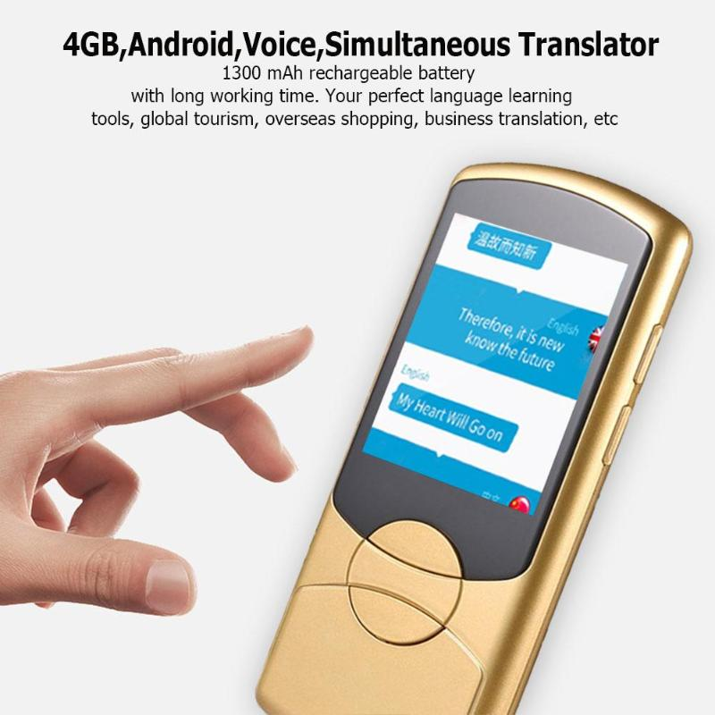 Professional Simultaneous Voice Translator 4GB+DDR2 512MB Android 6.0 2.8 Inch Touch Screen Smart Voice Translation Device