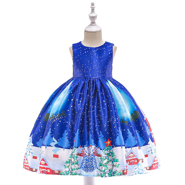Christmas Dress Kids Party Santa Claus Costume Gift 3-10 years old Baby Winter Snowman Holiday Girl Children Clothing