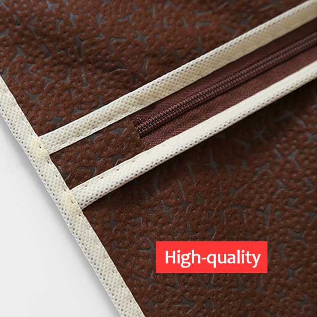 Embossed Non-woven Fabric Dust Cover Hanging Bag with Zipper for Clothes Garment Coat Dress Moth-proof Protector JF016