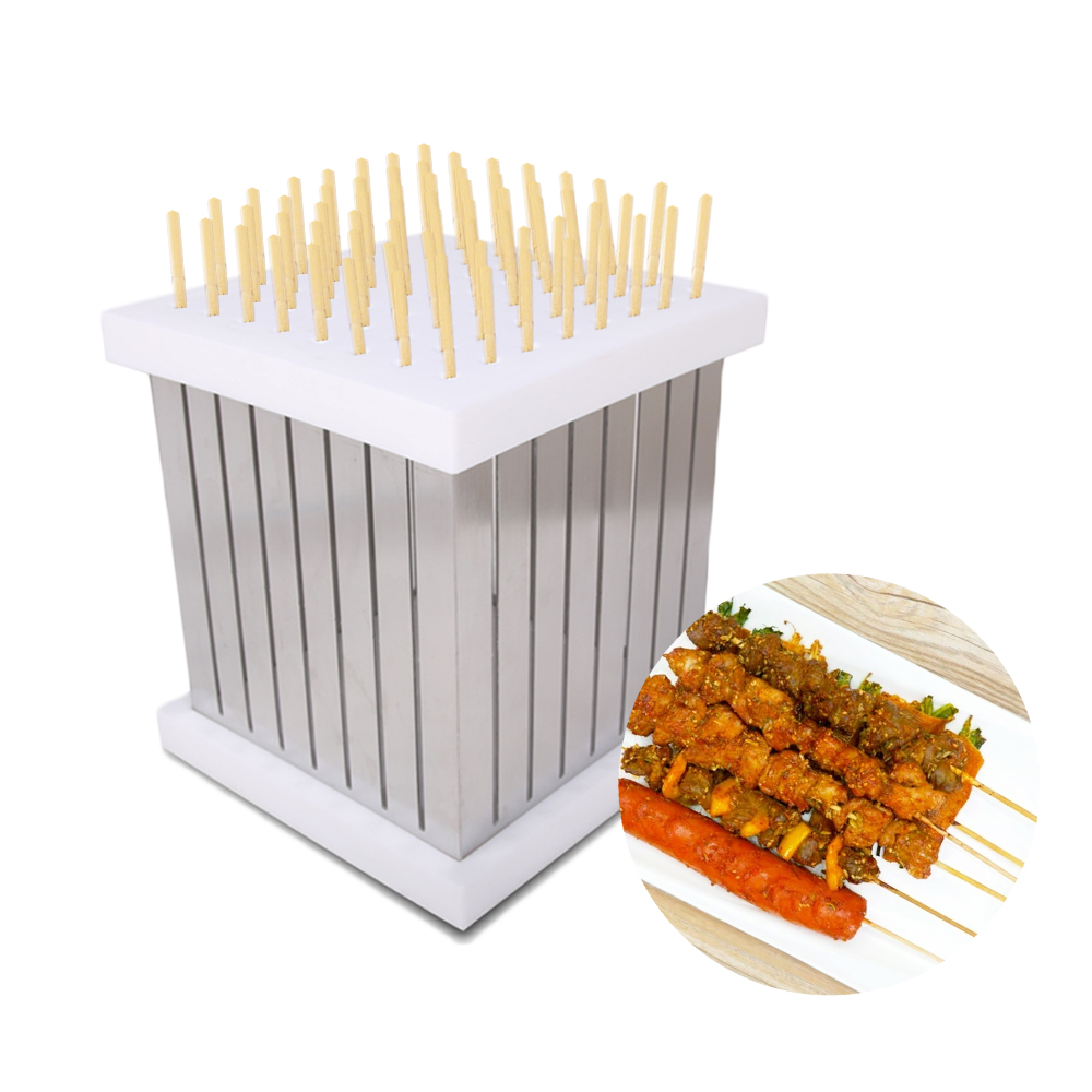 ITOP BBQ Skewers Kebab Maker Box 64 Holes Brochette Slicer BBQ Forks Meat Maker Barbecue Tool Kebab Skewer Machine