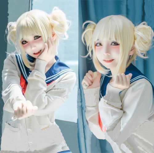 My Hero Academia Himiko Toga Light Blonde Ponytail Cosplay Wig Cap Costume Prop