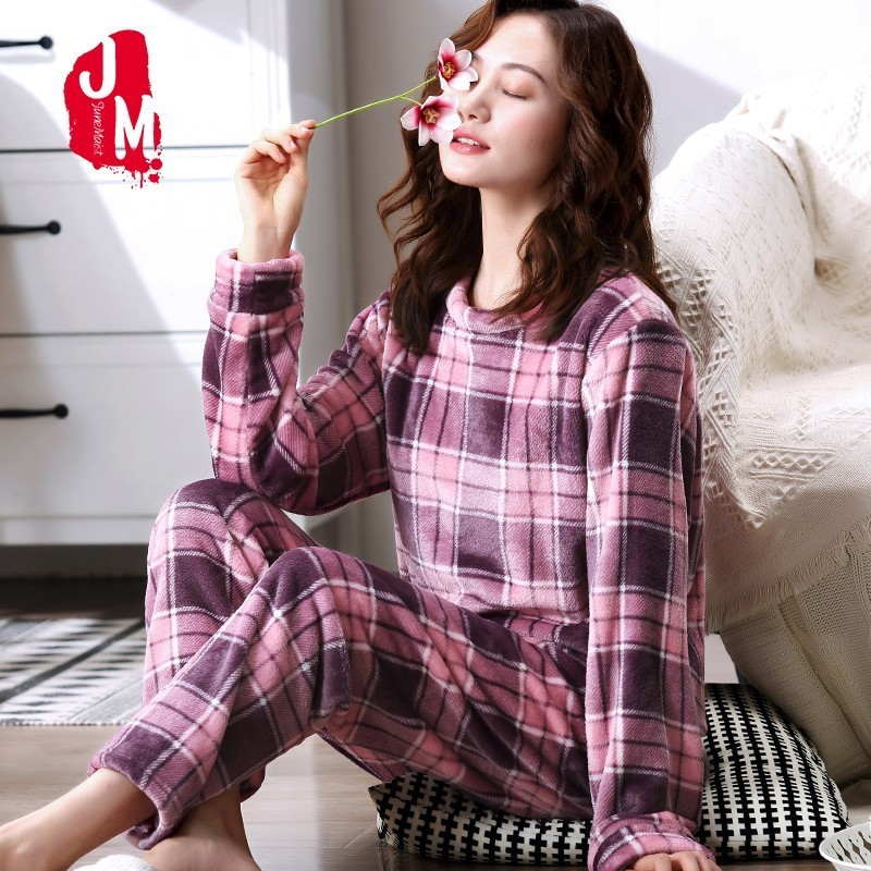 Warm   Pajamas   Female Winter Thick Women   Pajamas     Set   Flannel Pyjamas Women Long Autumn   Pajama   Woman Two Pieces Homewear Sleep XXL
