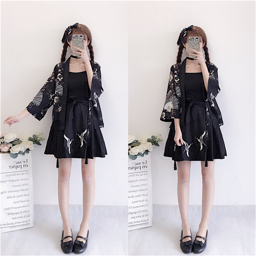 Girls Black Japanese Style Clothing Set Woman Fashion Spring Kimono 3PCS Skirt Haori Cardigans 2019 Japanese Yukata Outfits