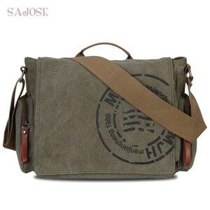 Image 1 - Винтажные мужские сумки через плечо, Холщовая Сумка на плечо, модная мужская деловая сумка через плечо для мужчин, брендовая мужская дорожная сумка с принтом