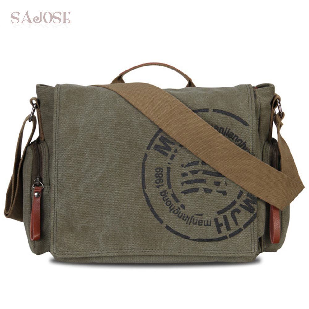 Vintage Men's Messenger Bags Canvas Shoulder Bag Fashion Man Business Crossbody Bag For Man Brand Printing Male Travel Handbag