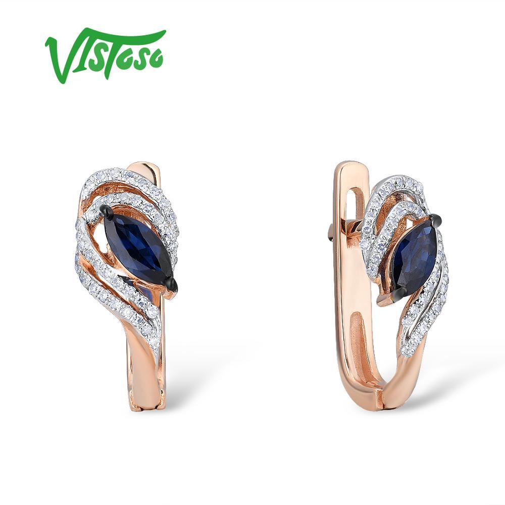 VISTOSO boucles d'oreilles en or pour femmes 14K 585 or Rose scintillant bleu saphir élégant diamant mariage bande anniversaire bijoux fins