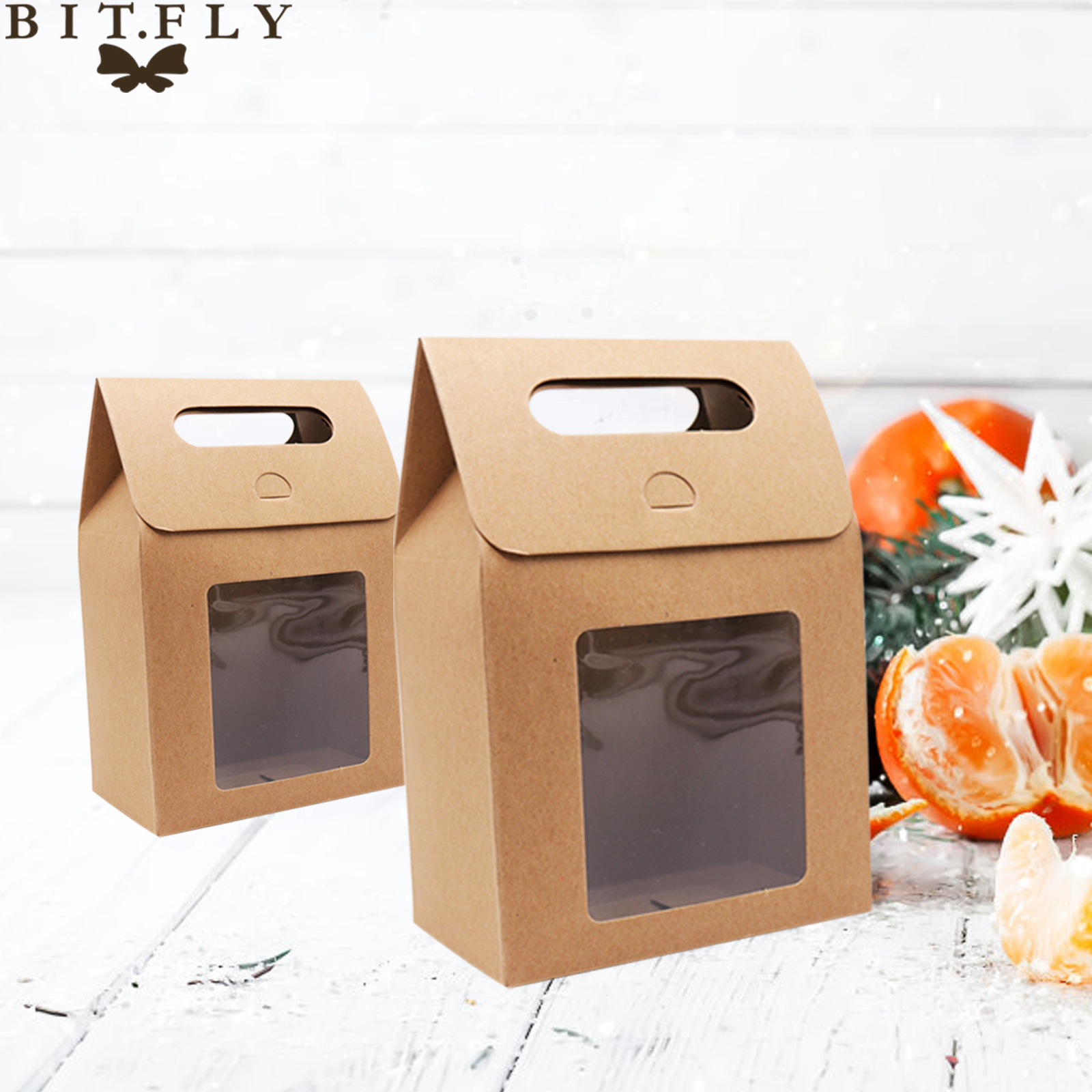 BIT.FLY Rustic Kraft Paper Gift Box Wedding Birthday Christmas Candy /Chocolate/Snack/Cake Package Bag PVC Window Seal Boxes