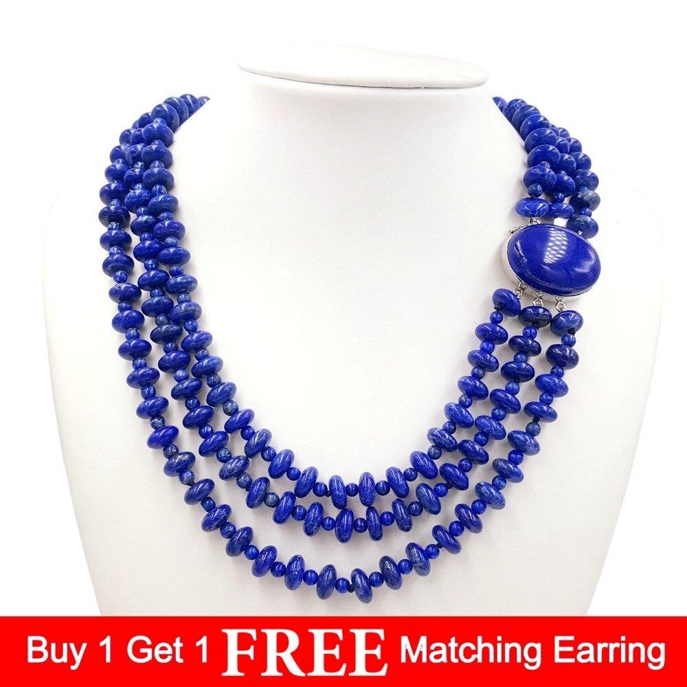 LiiJi Unique naturel Lapis Lazuli 925 en argent Sterling pendentif fermoir déclaration grand collier 50 cm/20 pouces